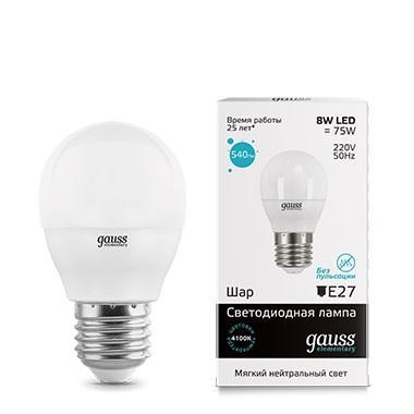 Лампа светодиодная E27 8W 4100K матовая 53228 gauss лампа светодиодная gauss шар матовый e27 8w 4100k 53228