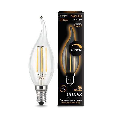Лампа светодиодная диммируемая филаментная E14 5W 2700К прозрачная 104801105-D gauss лампа светодиодная диммируемая gauss свеча на ветру прозрачная e14 5w 2700k 104801105 d