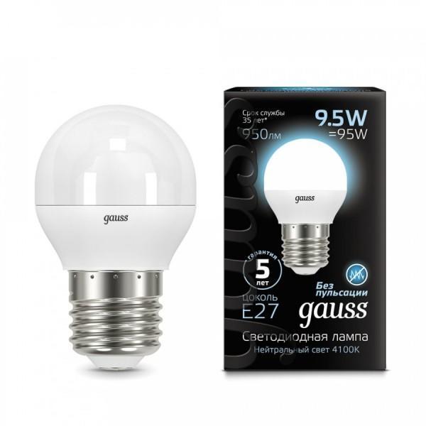 Лампа светодиодная E27 9.5W 4100K матовая 105102210 gauss лампа светодиодная gauss globe шар матовый e27 9 5w 4100k 105102210