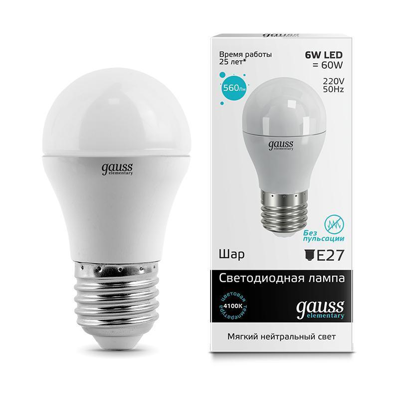 Лампа cветодиодная E27 6W 4100K матовая 53226 gauss лампа светодиодная gauss шар матовый e27 6w 4100k 53226