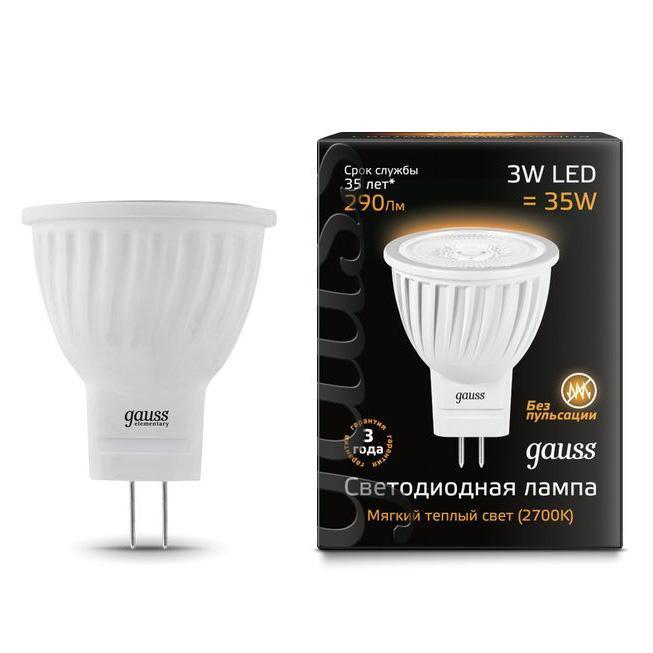 Лампа cветодиодная GU4 3W 2700K матовая 132517103 лампа светодиодная gauss 132517103