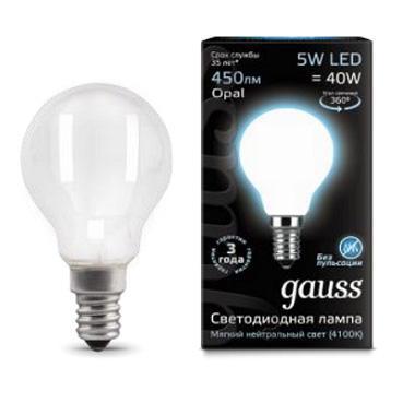 Лампа светодиодная филаментная E14 5W 4100К матовая 105201205 gauss лампа светодиодная gauss candle свеча матовая e14 9 5w 4100к 103101210