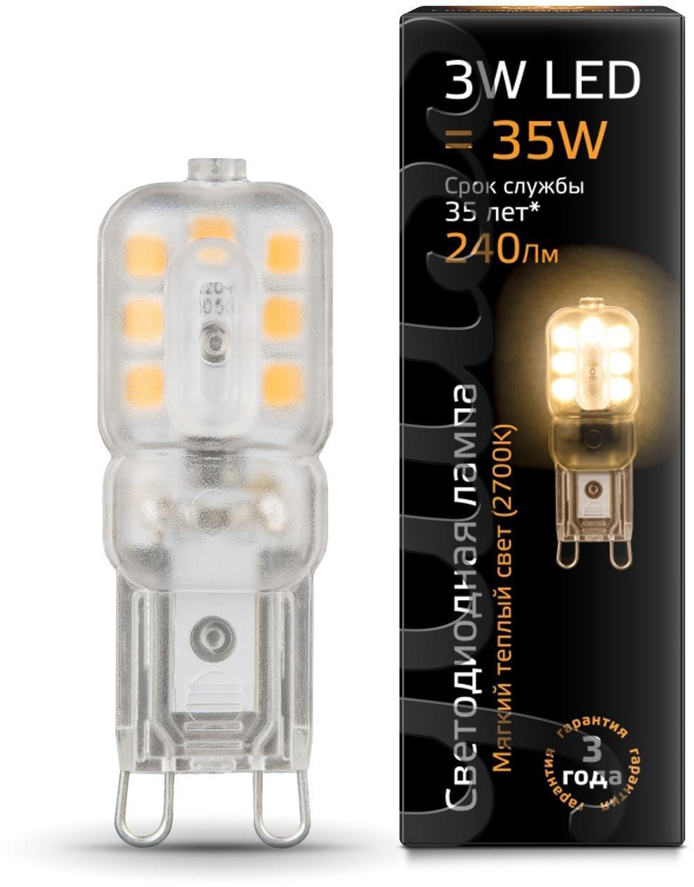 Лампа cветодиодная G9 3W 2700K прозрачная 107409103 лампа светодиодная gy6 35 3w 2700k прозрачная 107719103