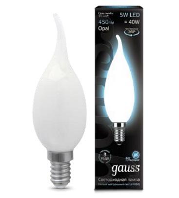 Лампа светодиодная филаментная E14 5W 4100К матовая 104201205 gauss лампа светодиодная gauss candle свеча матовая e14 9 5w 4100к 103101210