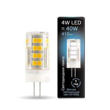 Лампа светодиодная G4 4W 4100К прозрачная 107307204 лампочка gauss led g4 gs 107307204