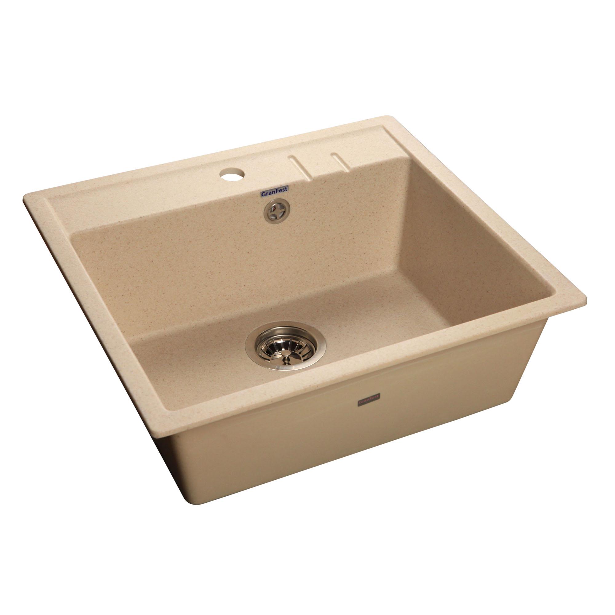 Кухонная мойка GranFest Quadro GF-Q560 бежевый мойка кухонная granfest гранит 565x510 gf q560 песок