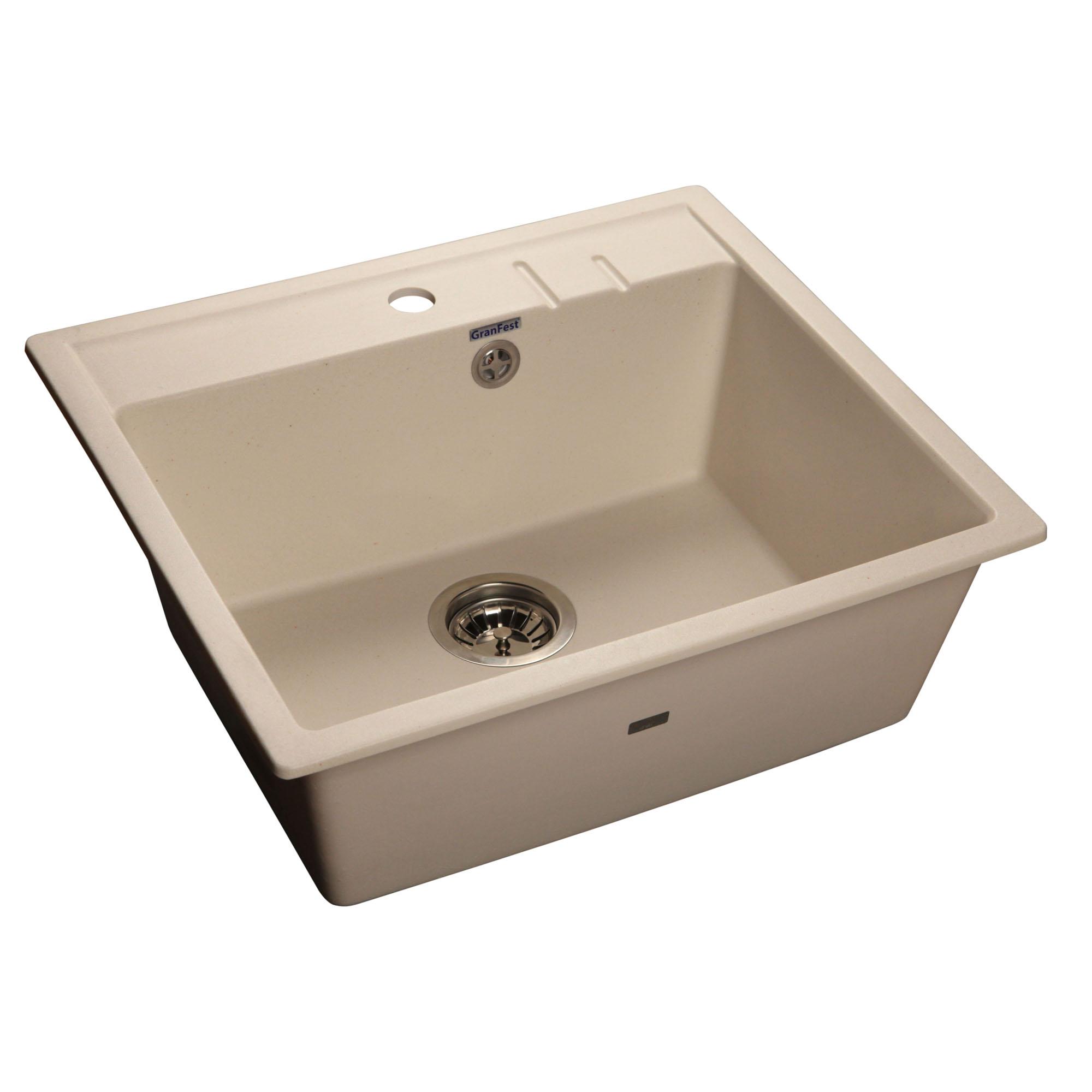 Кухонная мойка GranFest Quadro GF-Q560 белый мойка кухонная granfest гранит 565x510 gf q560 песок