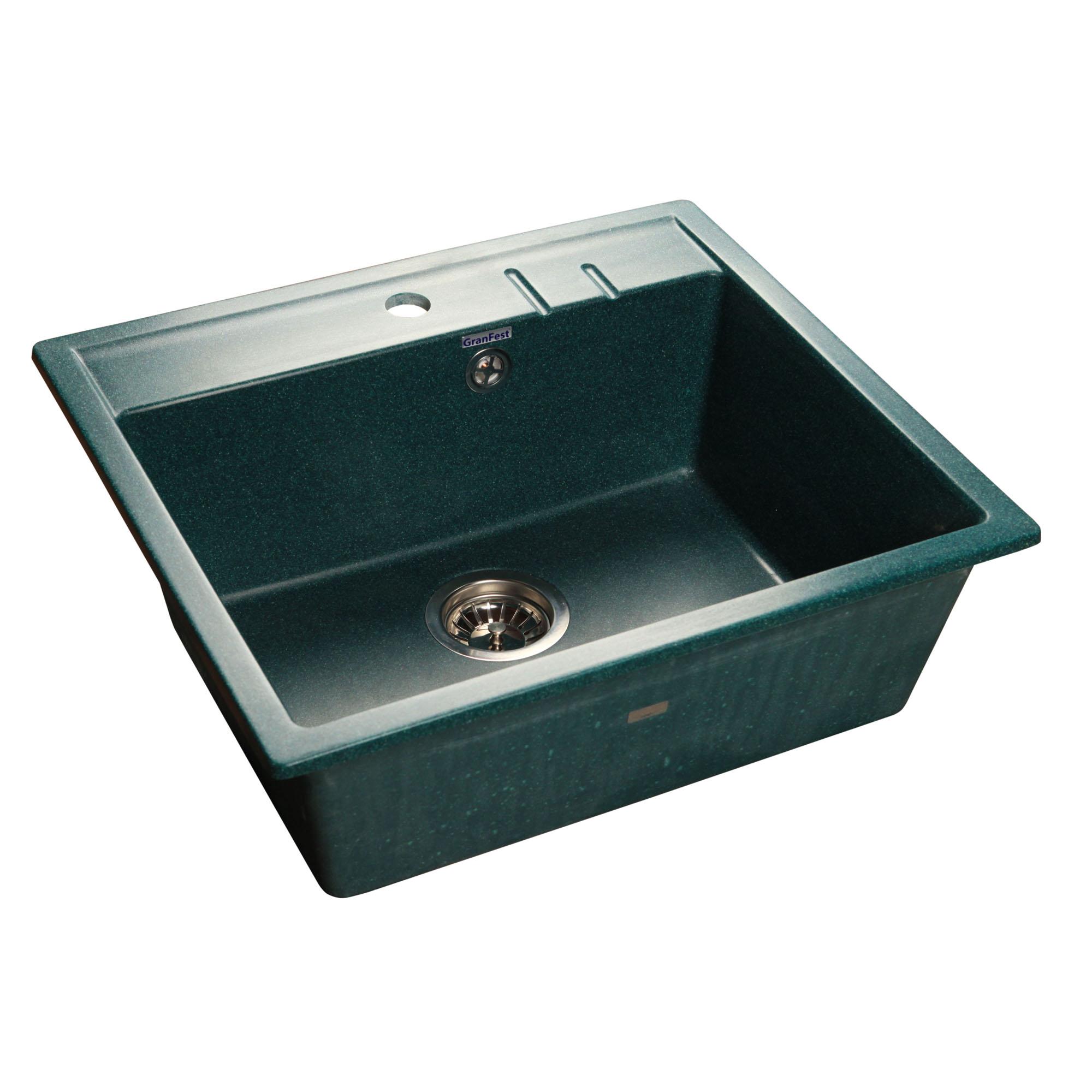 Кухонная мойка GranFest Quadro GF-Q560 зеленый мойка кухонная granfest гранит 565x510 gf q560 песок