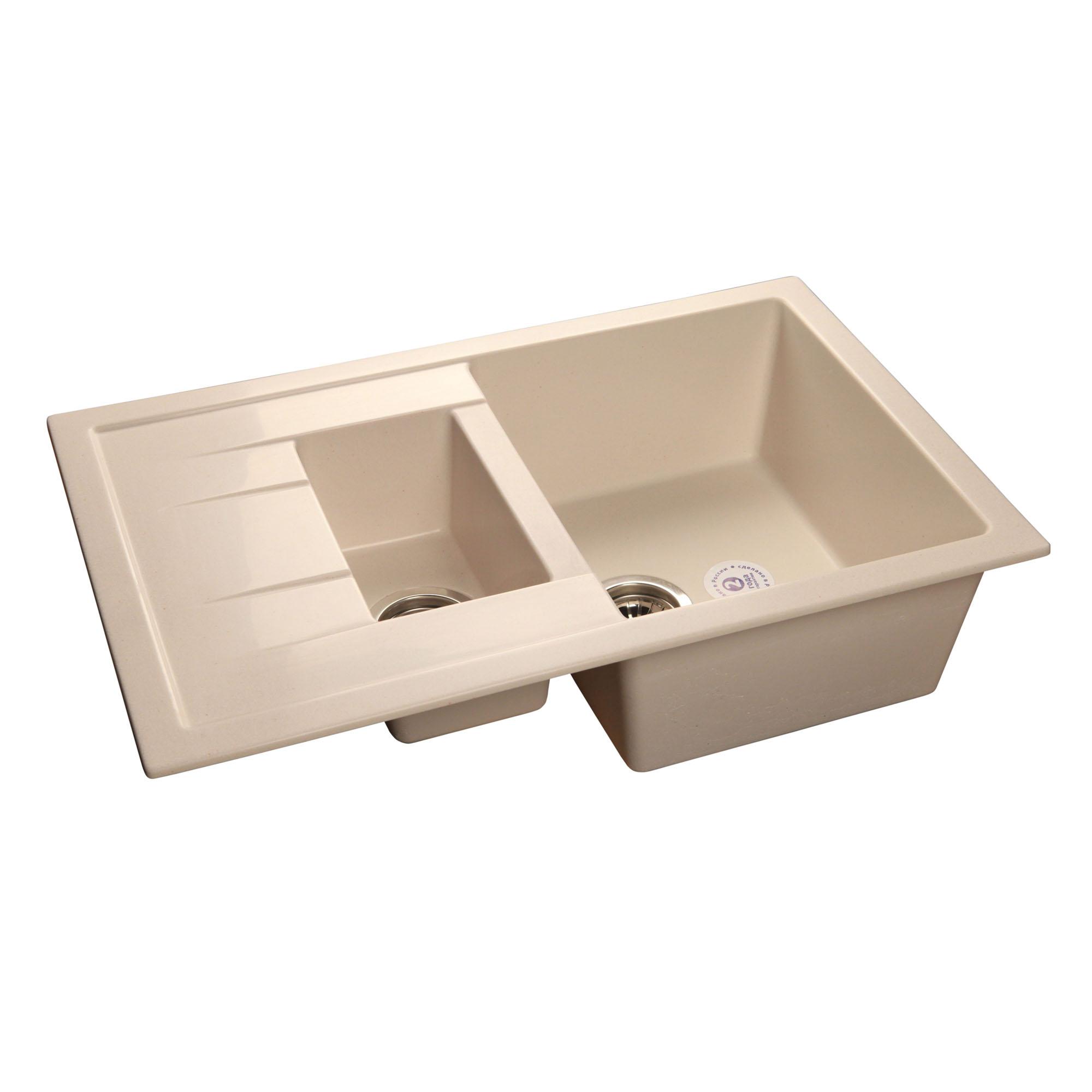 Кухонная мойка GranFest Quadro GF-Q775KL белый мойка кухонная weissgauff quadro 800 eco granit белый