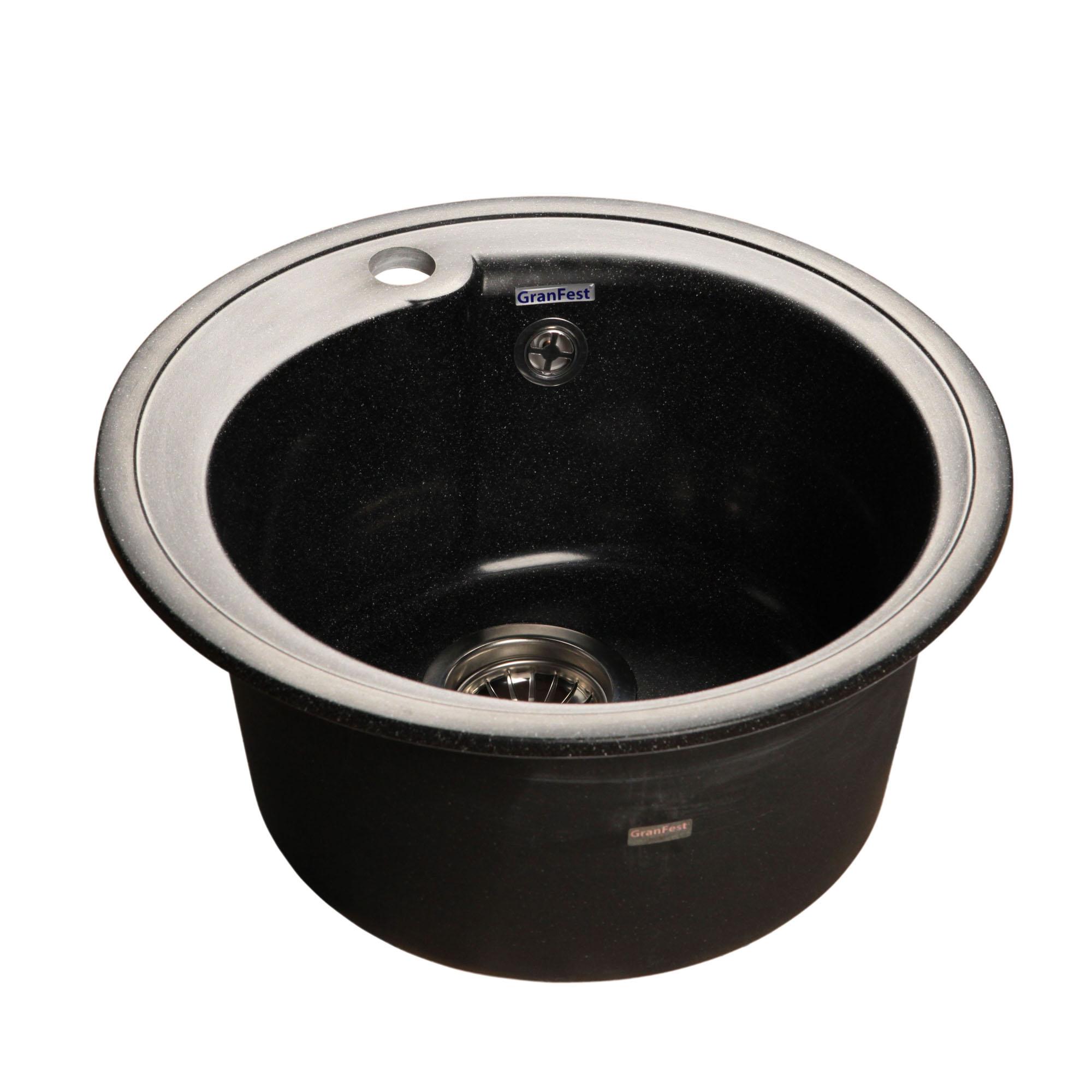 Кухонная мойка GranFest Rondo GF-R450 черный мойка кухонная granfest гранит d450 gf r450 терракот