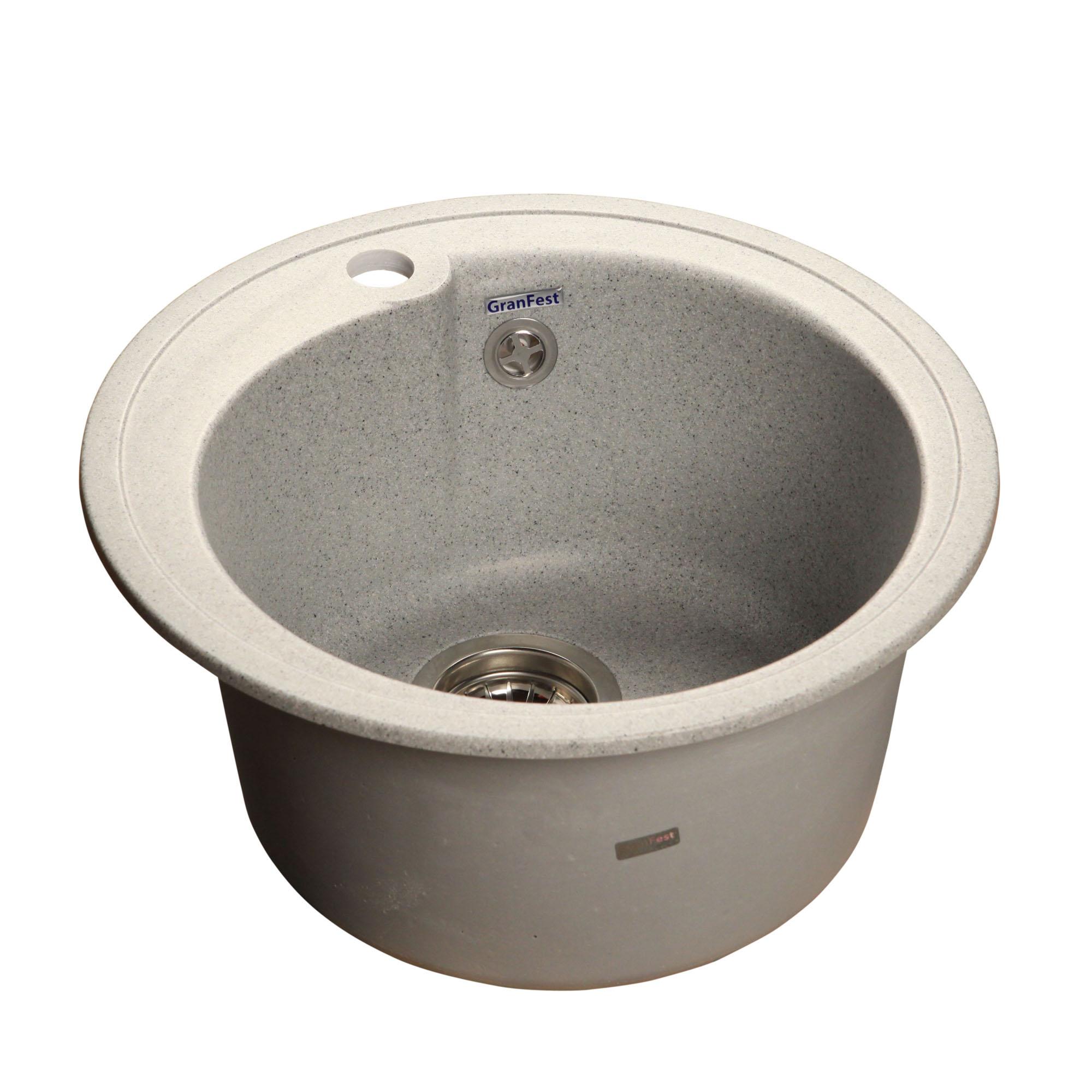 Кухонная мойка GranFest Rondo GF-R450 серый мойка кухонная granfest гранит d450 gf r450 терракот