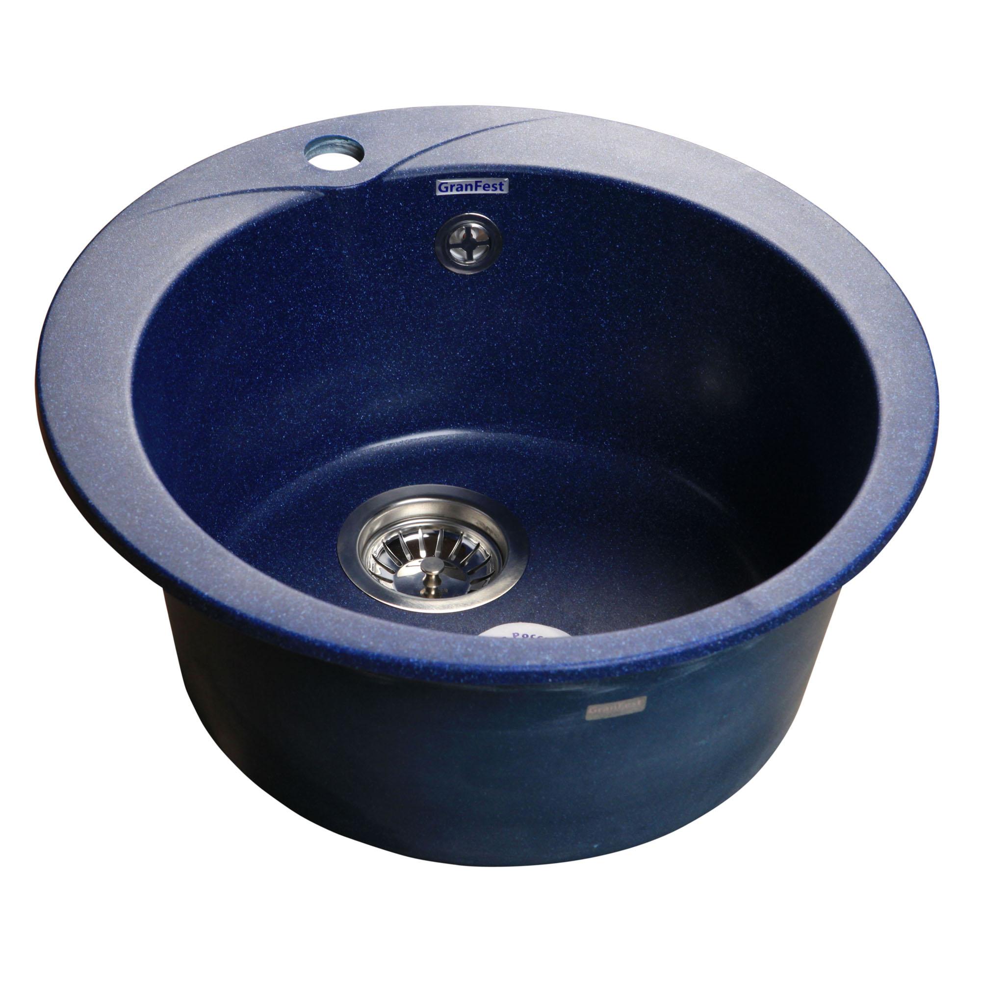 Кухонная мойка GranFest Rondo GF-R480 синий мойка кухонная granfest gf r480 терракот d480