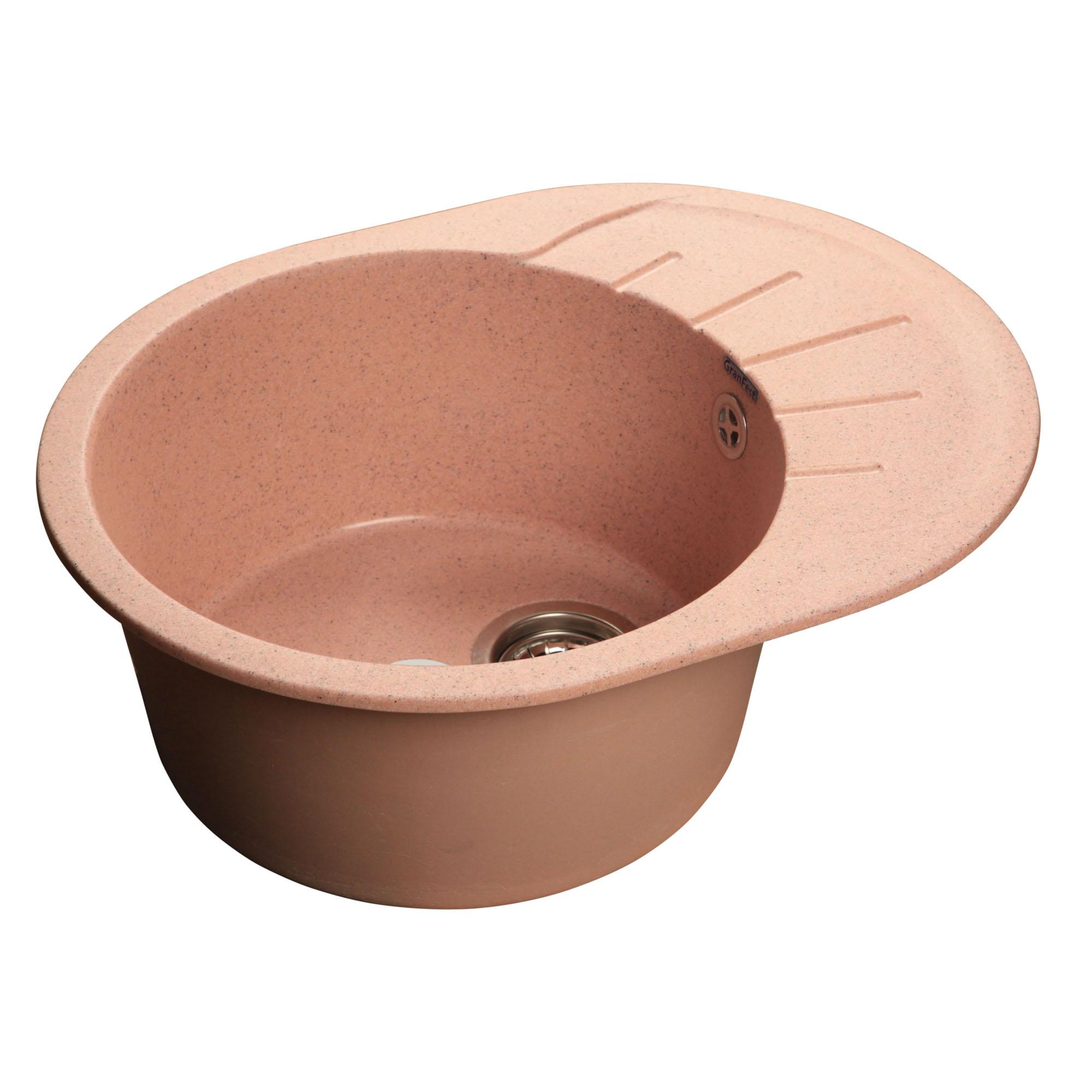 Кухонная мойка GranFest Rondo GF-R580L розовый granfest gf r580l бежевый