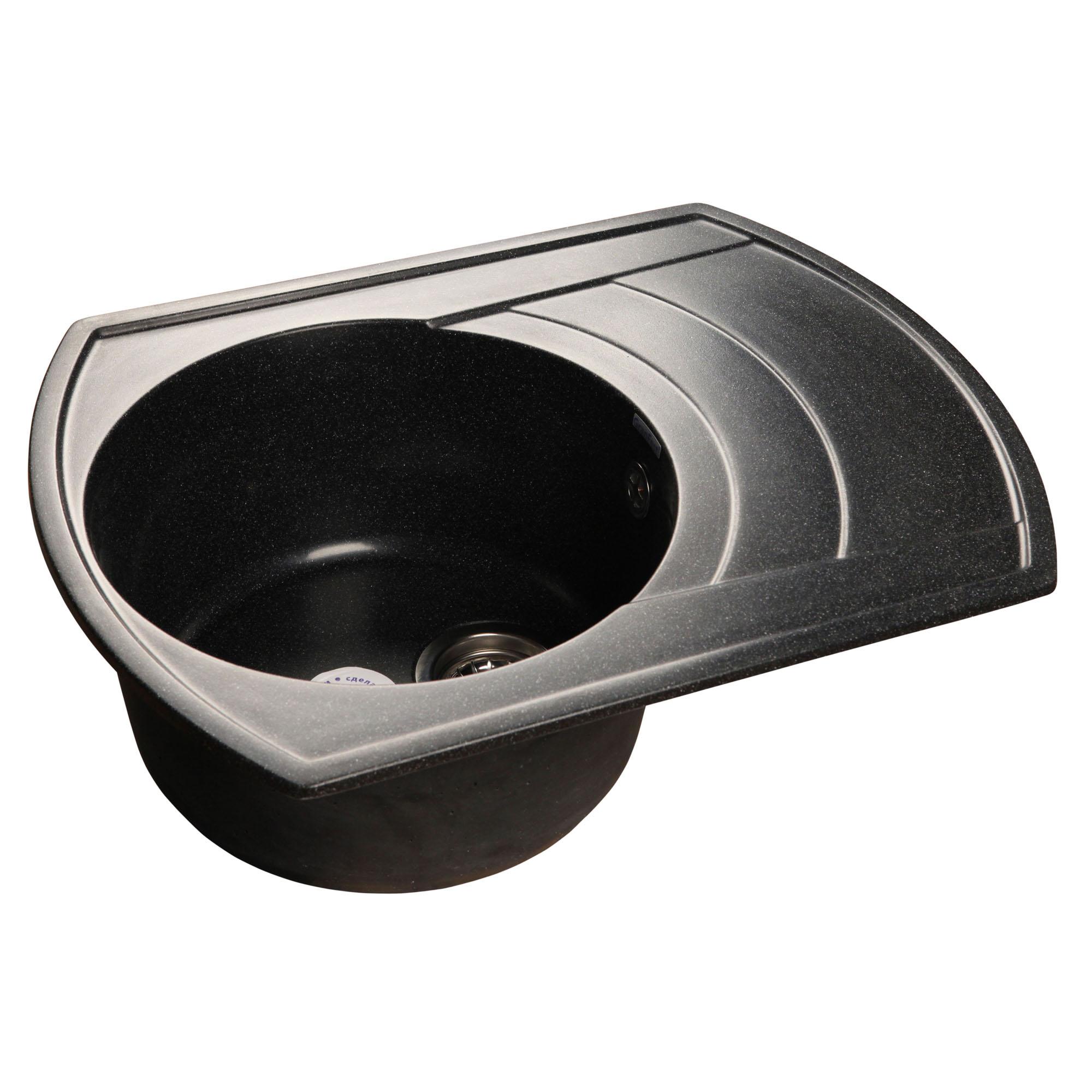 Кухонная мойка GranFest Rondo GF-R650L черный мойка кухонная granfest гранит 650x500 чаша крыло gf r650l черная