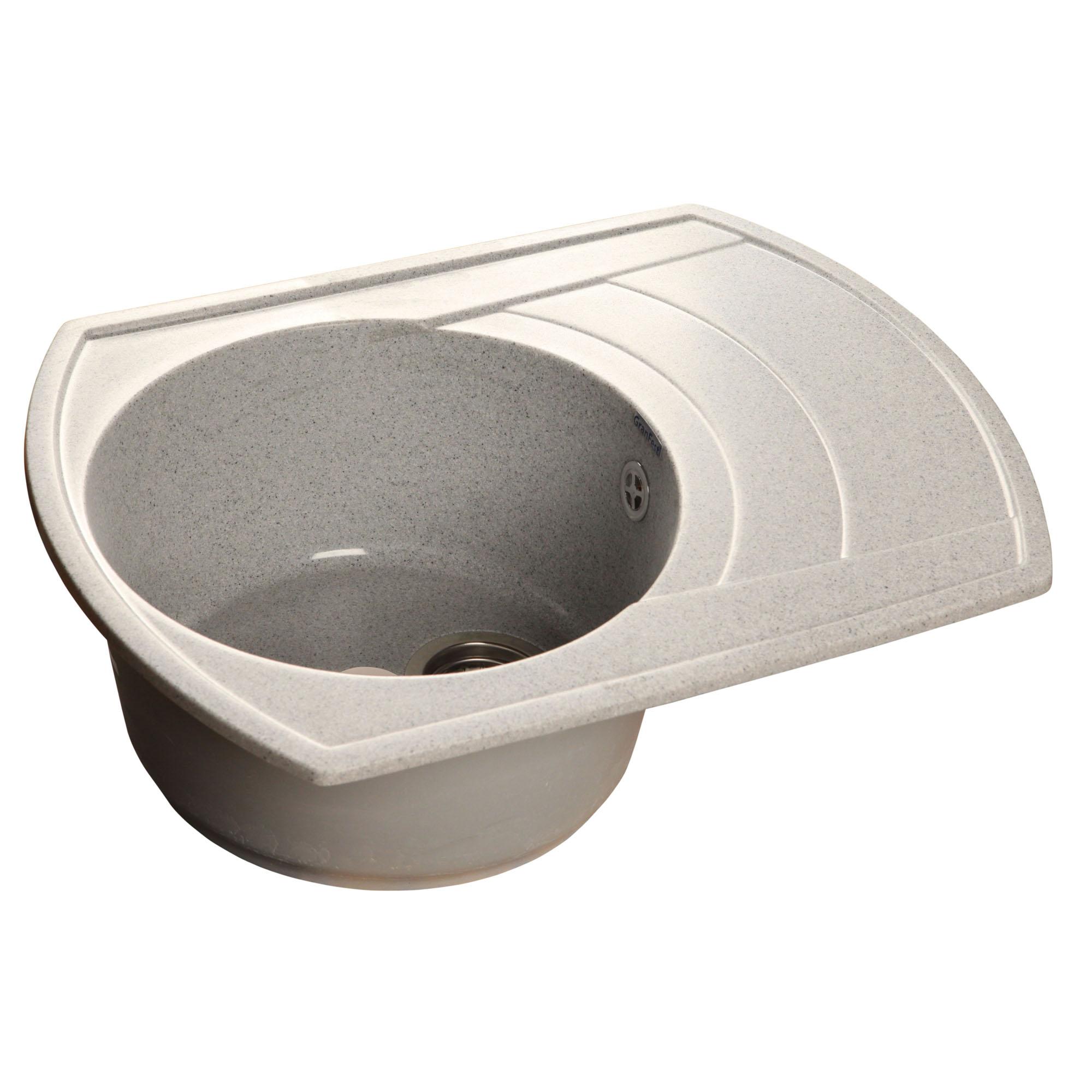 Кухонная мойка GranFest Rondo GF-R650L серый мойка кухонная granfest гранит 650x500 чаша крыло gf r650l черная