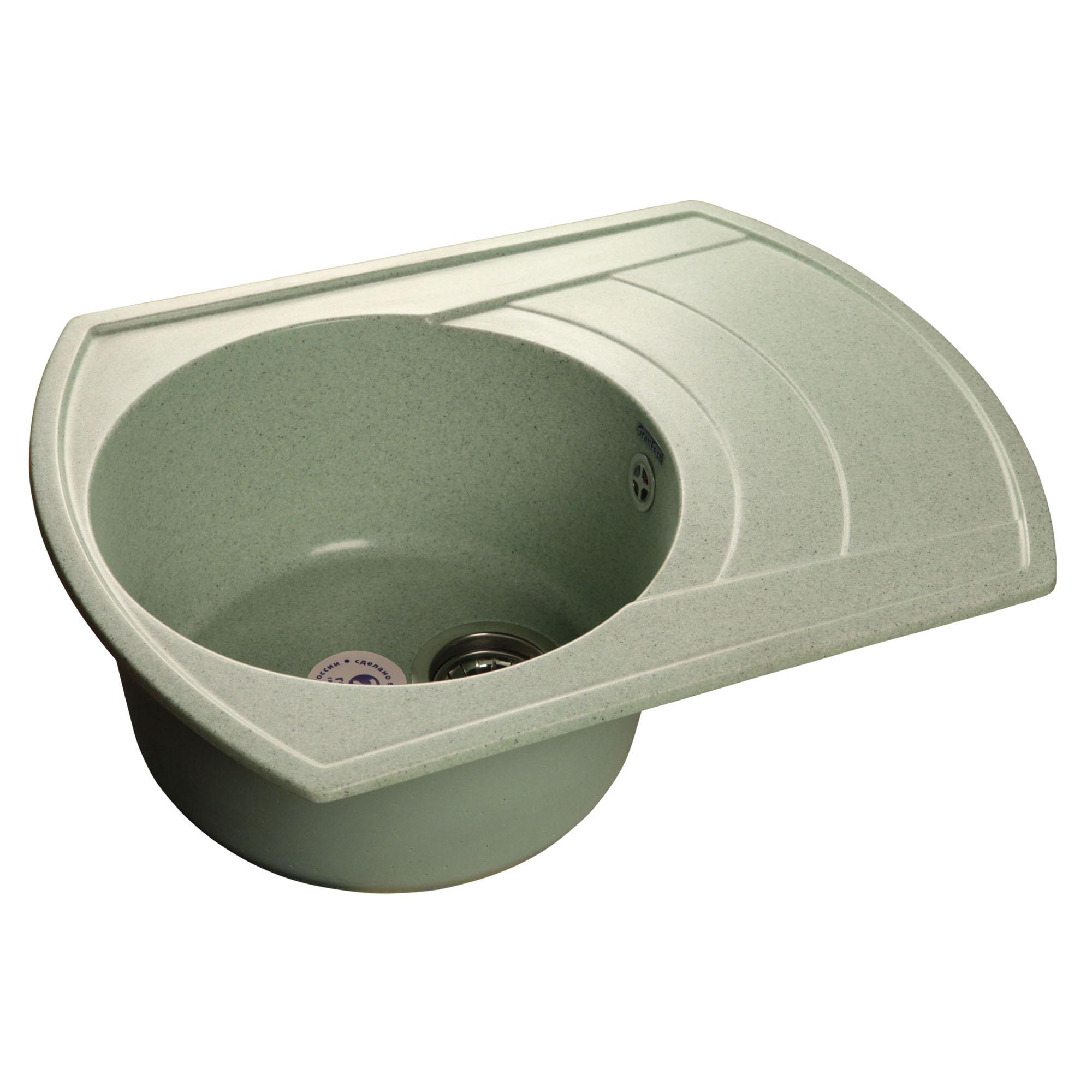 Кухонная мойка GranFest Rondo GF-R650L салатовый мойка кухонная granfest гранит 650x500 чаша крыло gf r650l черная