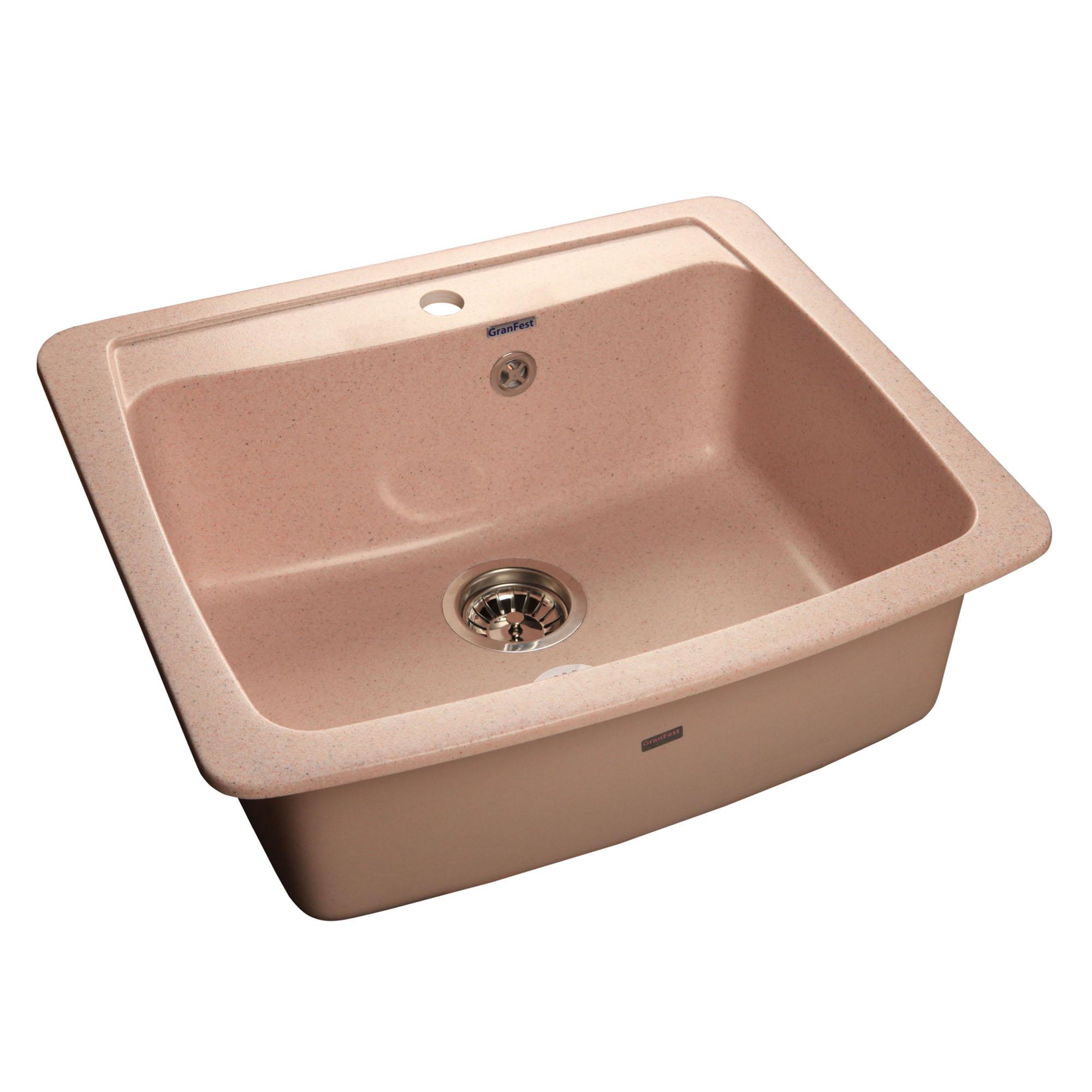 Кухонная мойка GranFest Standart GF-S605 розовый мойка кухонная granfest гранит 605x510 gf s605 бежевая