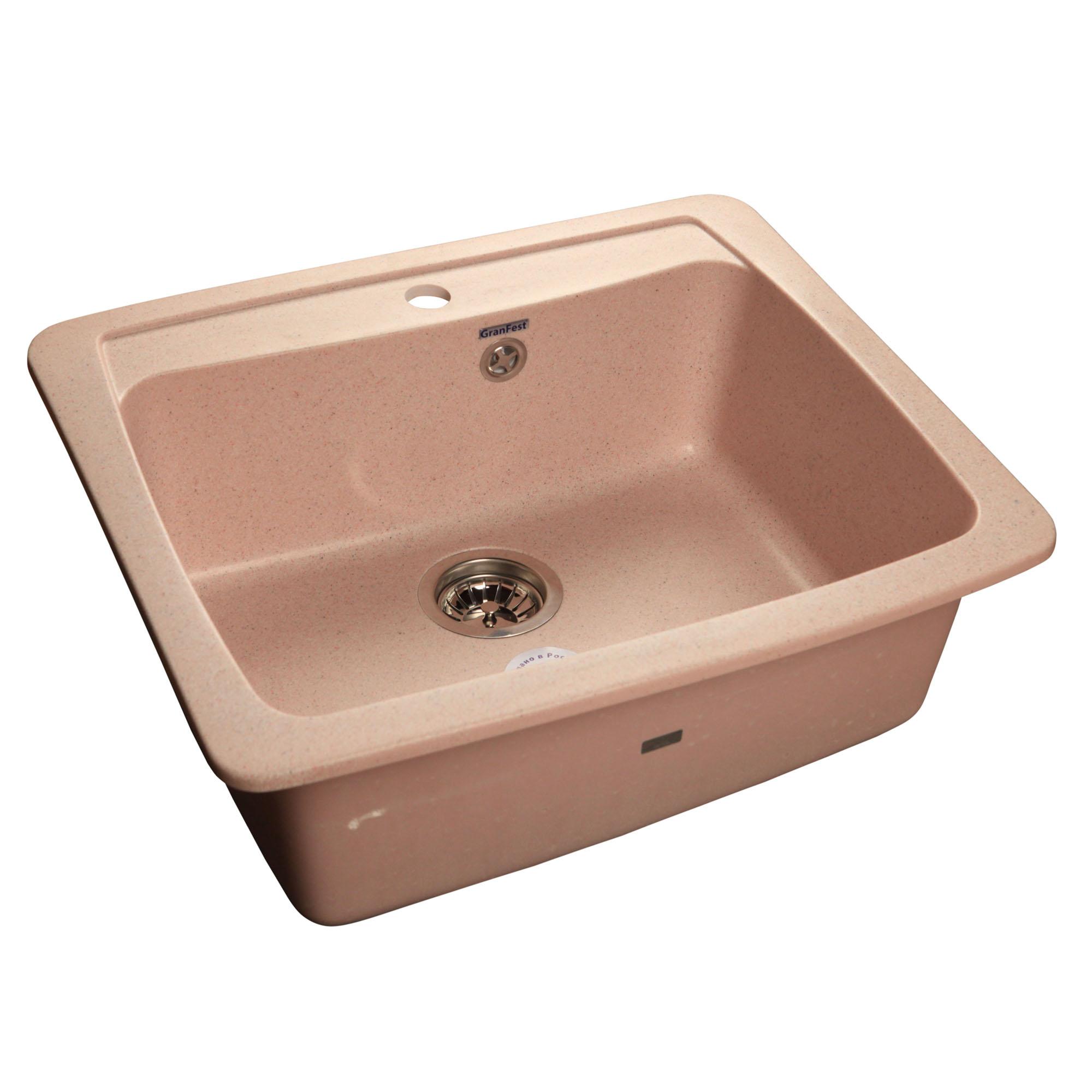 Кухонная мойка GranFest Standart GF-S605 светло-розовый мойка кухонная granfest гранит 605x510 gf s605 бежевая