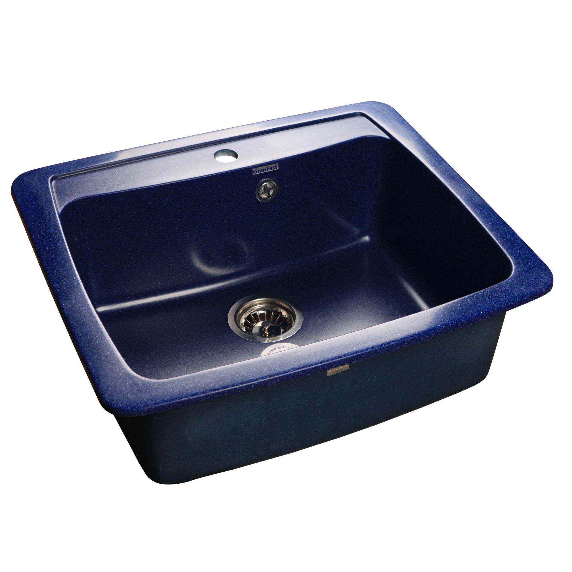 Кухонная мойка GranFest Standart GF-S605 синий мойка кухонная granfest гранит 605x510 gf s605 бежевая