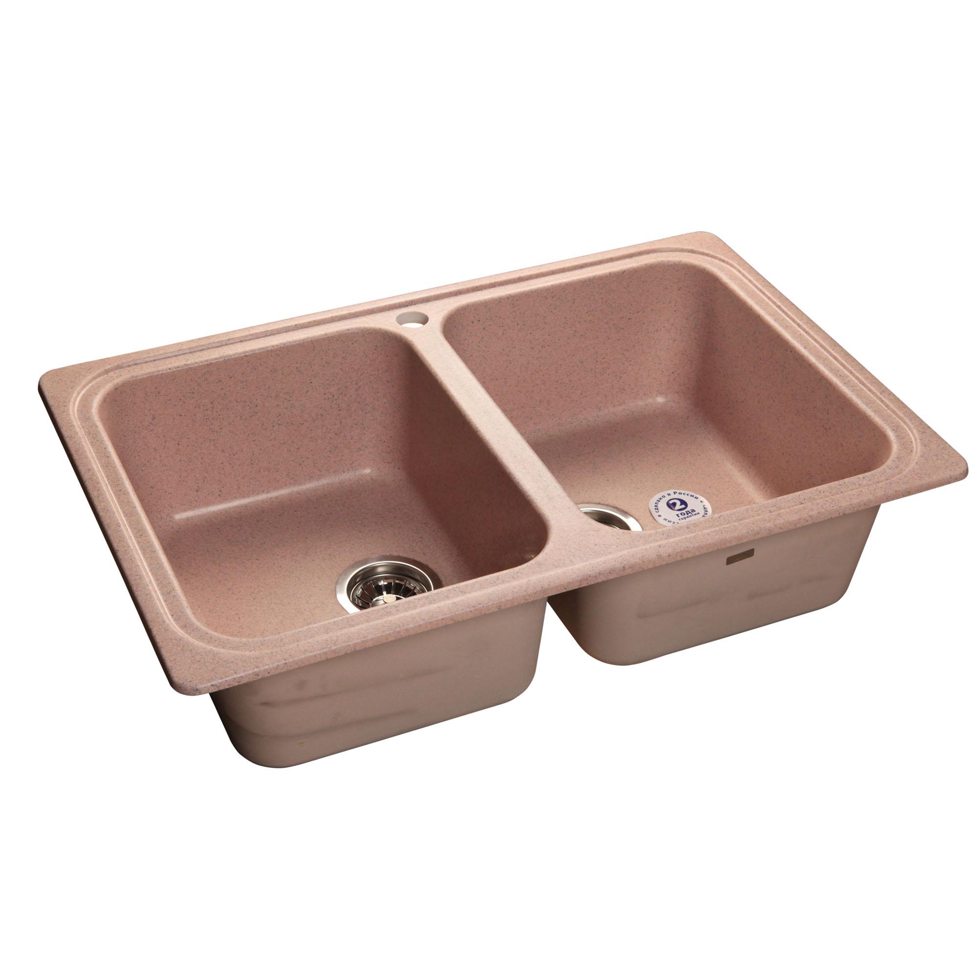 Кухонная мойка GranFest Standart GF-S780K розовый мойка кухонная granfest гранит 780x510 gf s780k бежевая