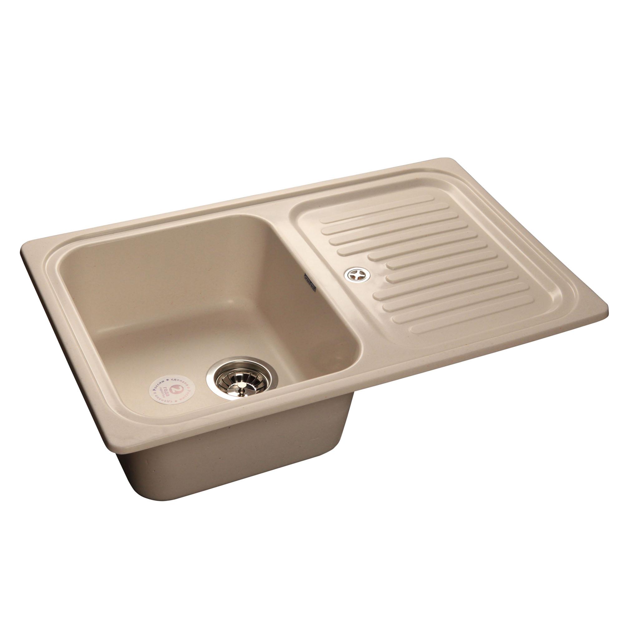 Кухонная мойка GranFest Standart GF-S780L белый мойка кухонная granfest gf s780l песок чаша крыло