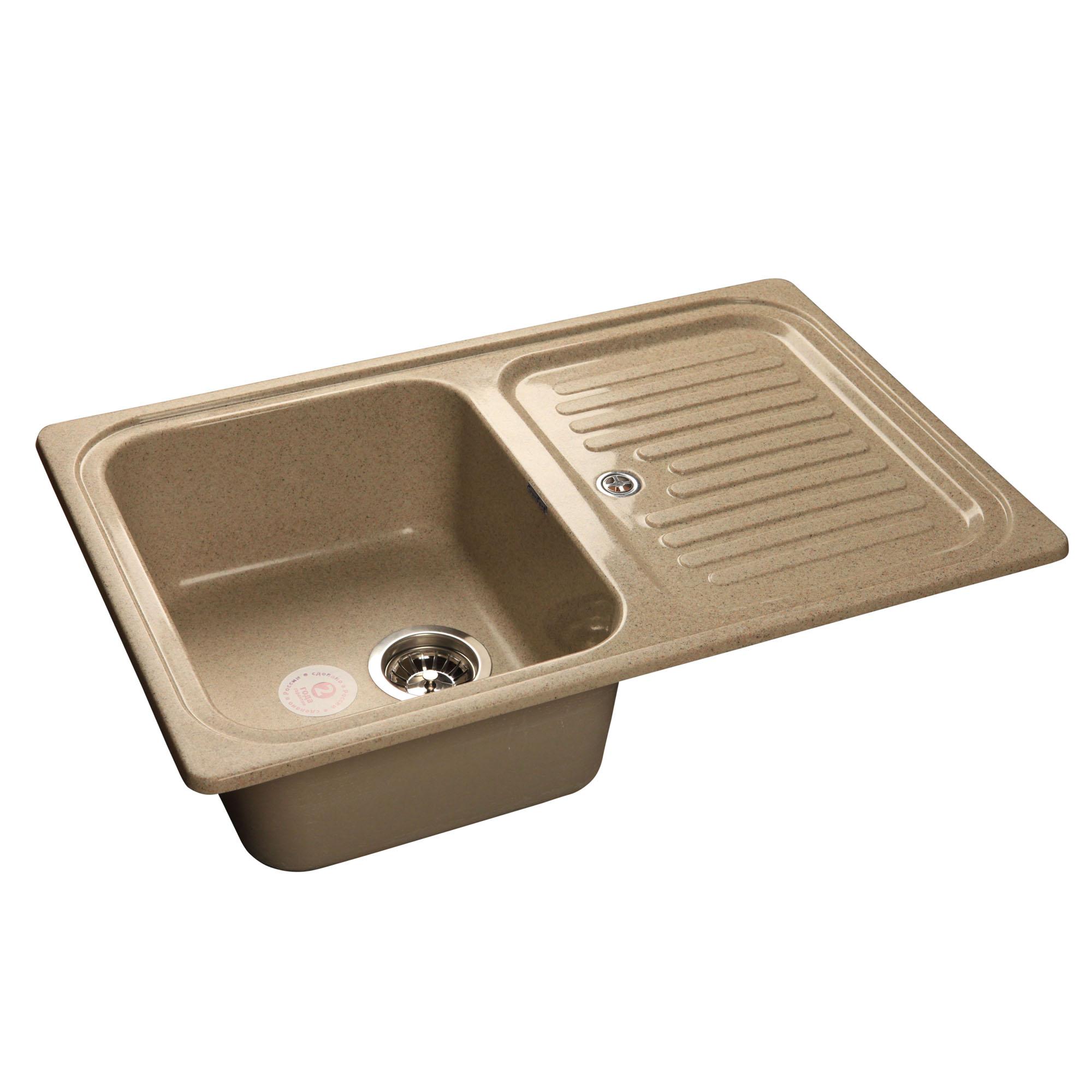 Кухонная мойка GranFest Standart GF-S780L песочный мойка кухонная granfest gf s780l песок чаша крыло