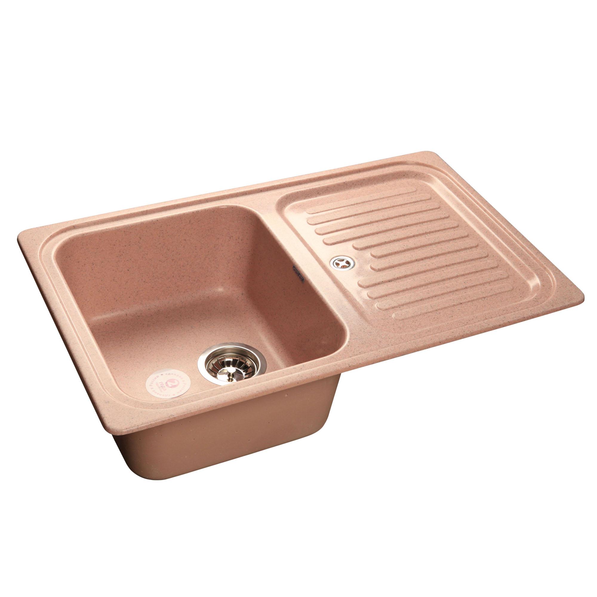 Кухонная мойка GranFest Standart GF-S780L розовый мойка кухонная granfest gf s780l песок чаша крыло