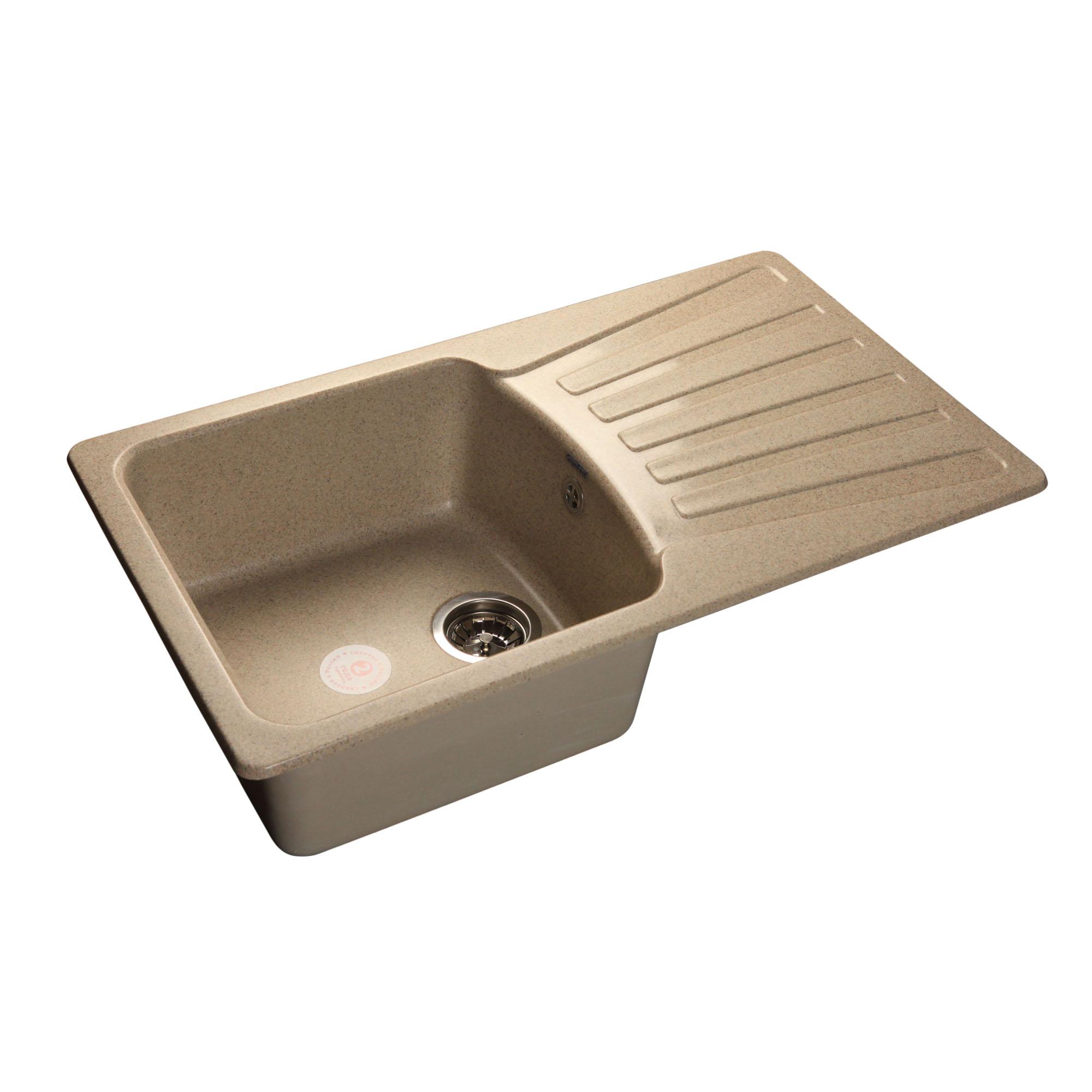 Кухонная мойка GranFest Standart GF-S850L песочный мойка кухонная granfest гранит 850x495 gf s850l терракот