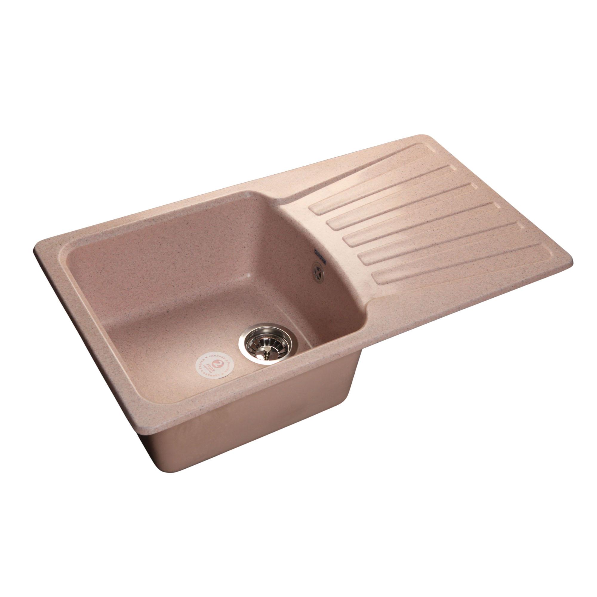 Кухонная мойка GranFest Standart GF-S850L розовый мойка кухонная granfest гранит 850x495 gf s850l терракот