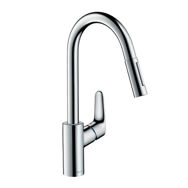 Смеситель Hansgrohe Focus 31815000 с выдвижным душем для кухни смеситель для кухни hansgrohe focus с выдвижной лейкой 31815000