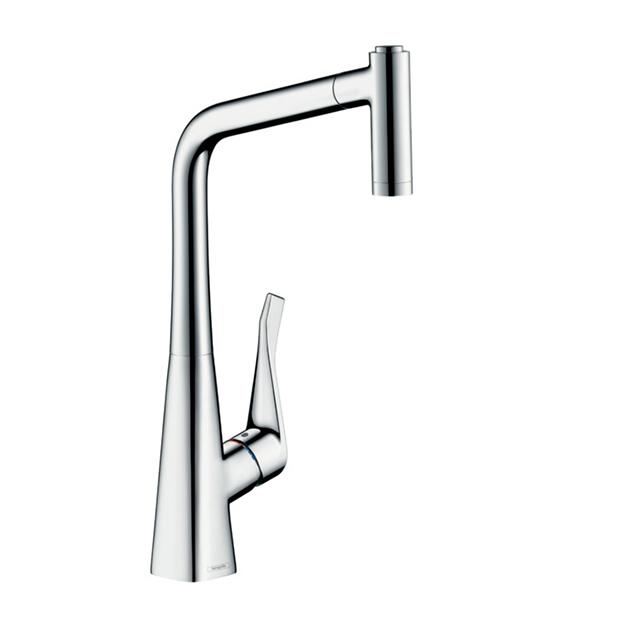 Смеситель Hansgrohe Metris 14820000 с выдвижным душем для кухни смеситель однорычажный hansgrohe metris 31280000