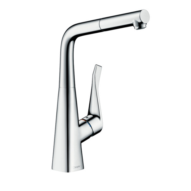 Смеситель Hansgrohe Metris 14821000 с выдвижным душем для кухни dixon stmc4ss stainless steel 303 hydraulic quick connect fitting coupler 1 2 male coupling 1 2 14 straight thread