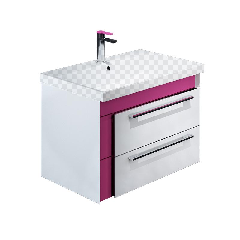 Тумба под раковину Iddis Color Plus 70 белая/розовая