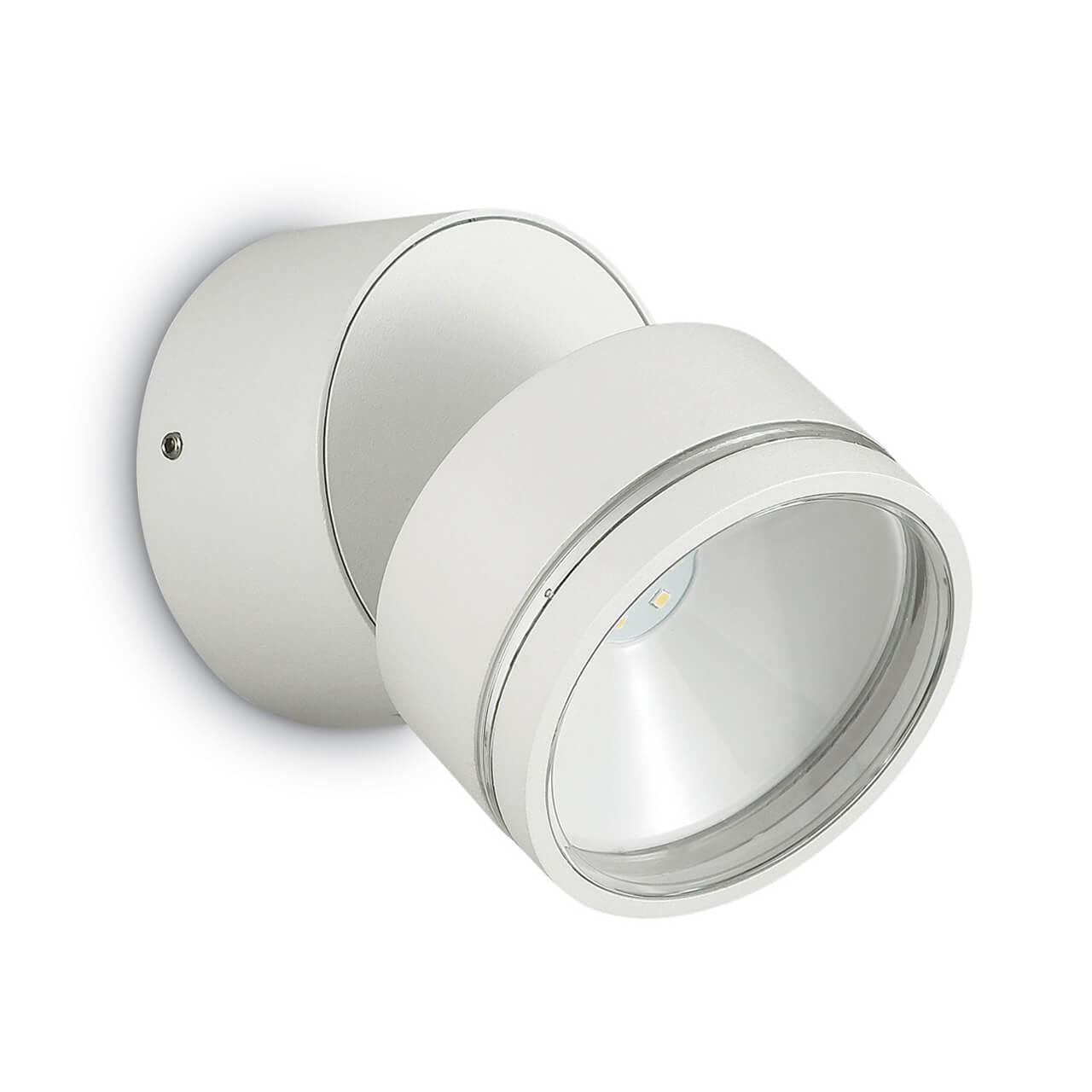 Уличный настенный светодиодный светильник Ideal Lux Omega Round AP1 Bianco ideal lux настенный спот ideal lux zenith ap1 bianco