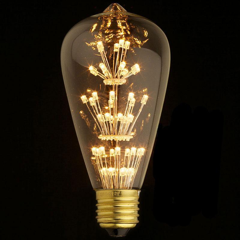 Лампа светодиодная филаментная E27 3W прозрачная ST64-47LED светодиодная лампа loft it st64 47led