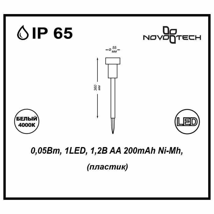 Светильник на солнечных батареях Novotech Solar 357206 novotech светильник на солнечных батареях novotech solar 357206