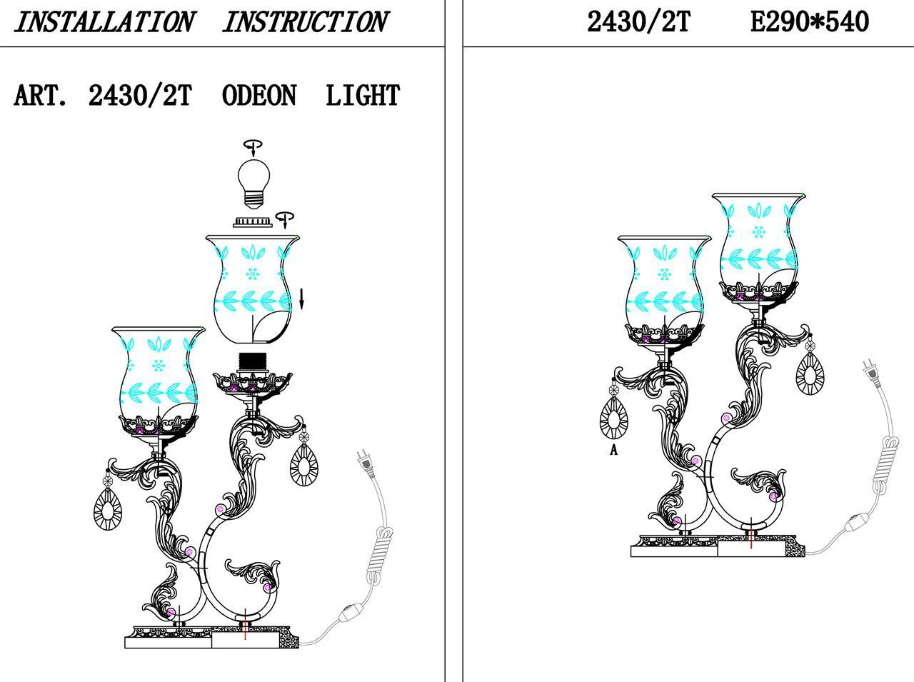 Настольная лампа Odeon Light Varza 2430/2T настольная лампа odeon light roxby 2460 2t