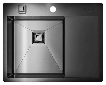 Кухонная мойка Omoikiri Akisame 65-GM-L вороненая сталь