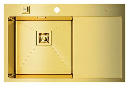Кухонная мойка Omoikiri Akisame 78-LG-L светлое золото мойка кухонная omoikiri akisame 78 gm r 4973100