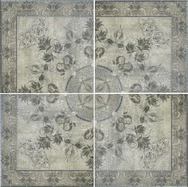 цена Панно Porcelanite Dos Serie 5018 +14501 Roseton Perla-Gris-Acero