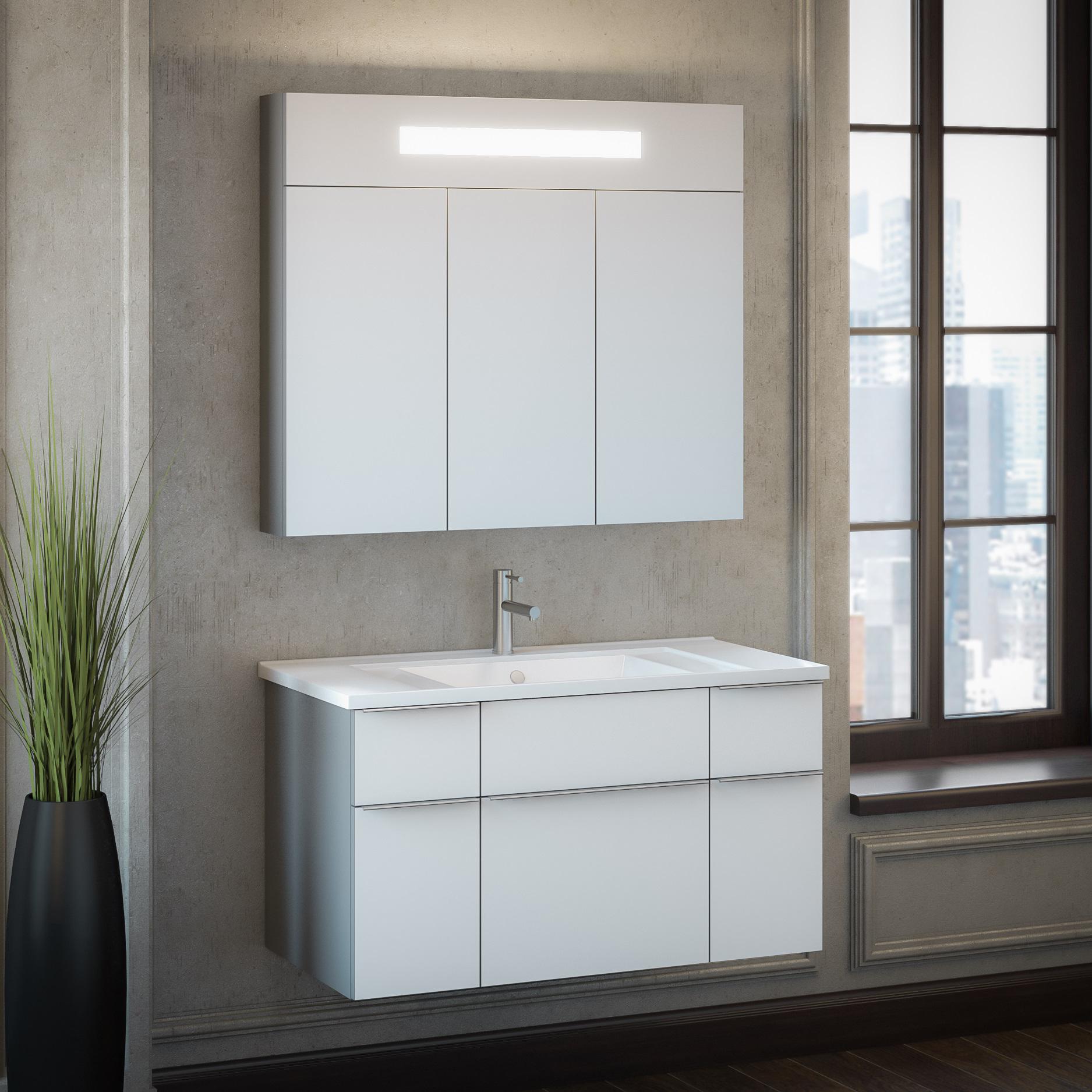 Комплект мебели Smile Кристалл 90 титан/черный