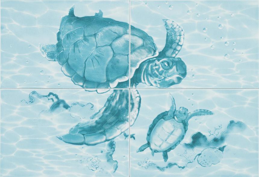 """Лагуна 77Ч Панно """"Черепахи"""" 49,8х72,8 (из 4 плиток) цена"""
