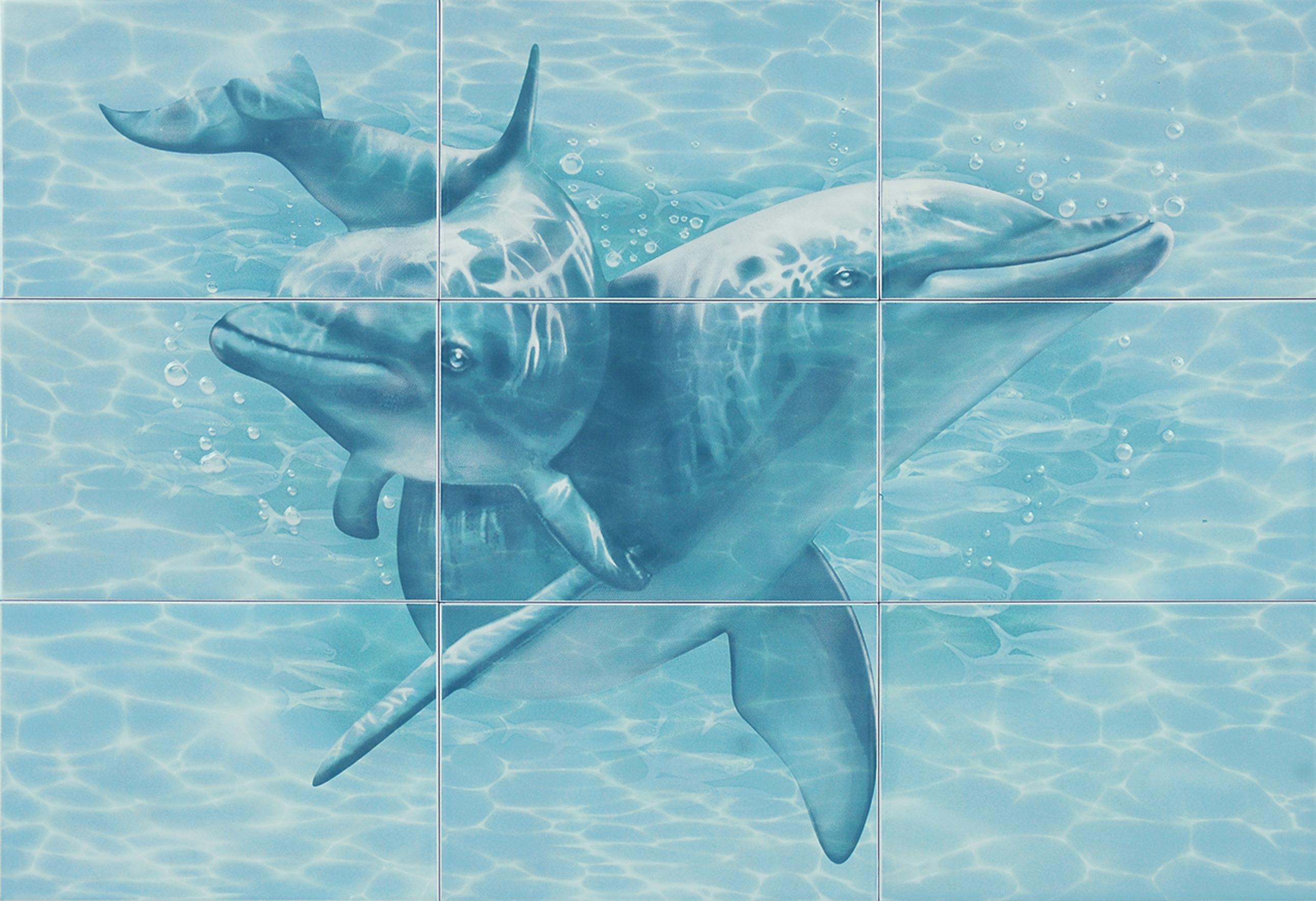 """Лагуна 76Д Панно """"Дельфины"""" 74,7х109,2 (из 9 плиток)"""