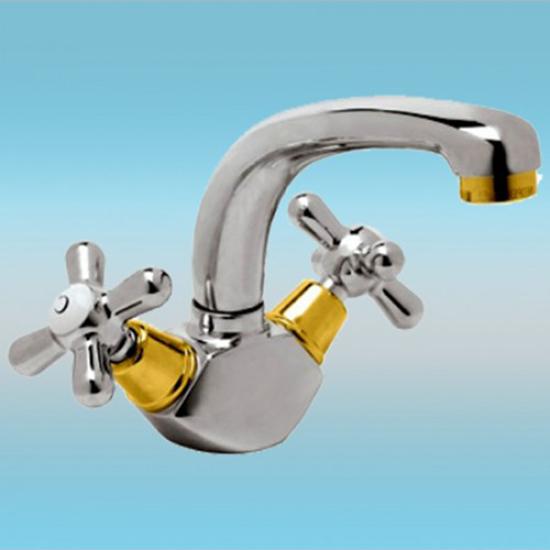 Смеситель Vidima Ретро BA119LS для раковины, хром/золото смеситель для умывальника vidima ретро в1478aa в9700аа ba117aa